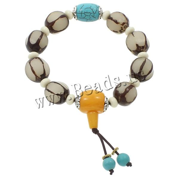 Buy Wrist Mala Bodhi Root Ox Bone & nylon elastic cord & rhinestone brass spacer & turquoise & Resin & Zinc Alloy Buddhist jewelry 16mm 13x19mm 15mm Length:Approx 7.5 Inch 5Strands/Bag 10PCs/Strand Sold Bag