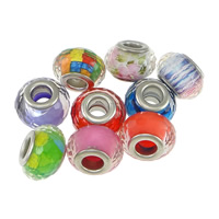 Plastic European Bead, Drum, platinum color plated, brass double core without troll & faceted, more colors for choice, nickel, lead & cadmium free, 9x14mm, Hole:Approx 5mm, 200PCs/Lot, Sold By Lot