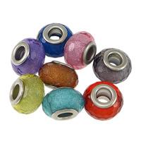 пластик бусины Европейская стиль, Цилиндрическая форма, Платиновое покрытие платиновым цвет, латунные Двухместный ядро без Тролль & граненый & серебрянный порошок, Много цветов для выбора, не содержит никель, свинец, 9x14mm, отверстие:Приблизительно 5mm, 200ПК/Лот, продается Лот