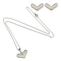 Fashion Stainless Steel Jewelry Sets, earring & necklace, Heart, oval chain, original color, 19x12x2mm, 1.5mm, 8x5x11.5mm, Length:Approx 18 Inch, Sold By Set