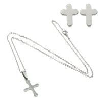 Fashion Stainless Steel Jewelry Sets, earring & necklace, Cross, oval chain, original color, 15.5x22x2mm, 1.5mm, 7.5x10x12mm, Length:Approx 18 Inch, Sold By Set