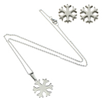 Fashion Stainless Steel Jewelry Sets, earring & necklace, Snowflake, oval chain, original color, 19x23x1.5mm, 1.5mm, 8x8.5x12mm, Length:Approx 18 Inch, Sold By Set