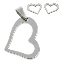 Fashion Stainless Steel Jewelry Sets, pendant & earring, Heart, original color, 15x20x1.5mm, 9x7x11mm, Hole:Approx 3.5x5mm, Sold By Set