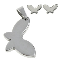 Fashion Stainless Steel Jewelry Sets, pendant & earring, Butterfly, original color, 12x19.5x2mm, 8.5x5.5x11mm, Hole:Approx 3x5mm, Sold By Set
