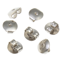 Iron Tension Ear Nut, platinum color plated, nickel, lead & cadmium free, 6x3mm, 10000PCs/Bag, Sold By Bag