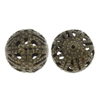 Iron Jewelry Beads, Round, antique bronze color plated, hollow, nickel, lead & cadmium free, 15x14mm, Hole:Approx 1mm, 500PCs/Bag, Sold By Bag