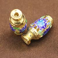 Cloisonne kulki srebrne, Cloisonne srebro, Waza, Platerowane prawdziwym złotem, pusty, 8x17mm, otwór:około 1.5mm, 5komputery/wiele, sprzedane przez wiele
