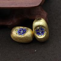 Cloisonne kulki srebrne, Cloisonne srebro, Platerowane prawdziwym złotem, 16.50x10.50x9.50mm, otwór:około 1.5mm, 3komputery/wiele, sprzedane przez wiele