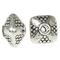 Zinc Alloy Jewelry Beads Rhombus antique silver color plated nickel lead   cadmium free 7x7x6mm Hole:Approx 1mm Approx 1111PCs/KG