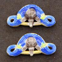 Cloisonne kulki srebrne, Cloisonne srebro, Platerowane prawdziwym złotem, 24x11x7mm, otwór:około 1.5mm, 2komputery/wiele, sprzedane przez wiele