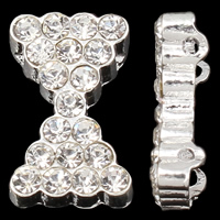 Zinc Alloy Spacer Bar, Bowknot, silver color plated, with rhinestone & 2-strand, nickel, lead & cadmium free, 15x9x4mm, Hole:Approx 1mm, 10PCs/Bag, Sold By Bag