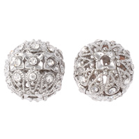Rhinestone Brass Beads, Round, platinum color plated, with rhinestone & hollow, nickel, lead & cadmium free, 18mm, Hole:Approx 2mm, 5PCs/Bag, Sold By Bag