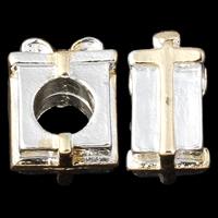 Zinklegering European Beads, Zinc Alloy, gave vorm, plated, zonder troll & two tone, nikkel, lood en cadmium vrij, 7x12x9.50mm, Gat:Ca 5mm, 10pC's/Bag, Verkocht door Bag