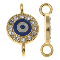 Evil Eye Connector, Zinc Alloy, Flat Round, gold color plated, enamel & with rhinestone & 1/1 loop, nickel, lead & cadmium free, 13x22x5mm, Hole:Approx 2mm, 10PCs/Bag, Sold By Bag