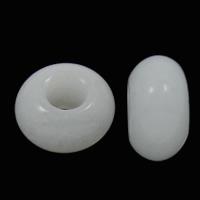European Tyyli Jalokivi Helmet, Jade Valkoinen, Rondelli, luonnollinen, ilman peikko, 8x14mm, Reikä:N. 6mm, 100PC/laukku, Myymät laukku
