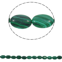 Malachite Beads Flat Oval 13x18x5mm Hole:Approx 1.5mm Approx 22PCs/Strand Sold Per Approx 15.3 Inch Strand