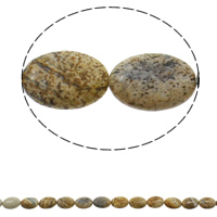 Natural Picture Jasper Beads, Flat Oval, 13x18x5mm, Hole:Approx 1.5mm, Approx 22PCs/Strand, Sold Per Approx 15.3 Inch Strand