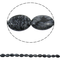Natural Snowflake Obsidian Beads, Flat Oval, 13x18x5mm, Hole:Approx 1.5mm, Approx 23PCs/Strand, Sold Per Approx 15.7 Inch Strand