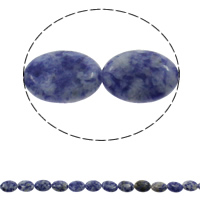 Natural Blue Spot Stone Beads, Flat Oval, 13x18x5mm, Hole:Approx 1.5mm, Approx 22PCs/Strand, Sold Per Approx 15.3 Inch Strand