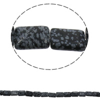 Natural Snowflake Obsidian Beads, Rectangle, 13x18x6mm, Hole:Approx 1.5mm, Approx 22PCs/Strand, Sold Per Approx 15.7 Inch Strand