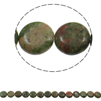 Ruby in Zoisite Beads, Flat Round, 16x6mm, Hole:Approx 1.5mm, Approx 25PCs/Strand, Sold Per Approx 15.7 Inch Strand