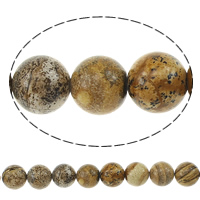 Natural Picture Jasper Beads, Round, 12mm, Hole:Approx 1.2mm, Length:Approx 15 Inch, 10Strands/Lot, Approx 32PCs/Strand, Sold By Lot