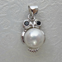 South Sea Shell Pendant, 925 Sterling Silver, with South Sea Shell, Owl, with rhinestone, 16mm, Hole:Approx 3mm, 5PCs/Lot, Sold By Lot