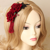 Lace Hair Band, with Velveteen & Iron, Rose, plated, gothic style, 65mm, Sold By Strand