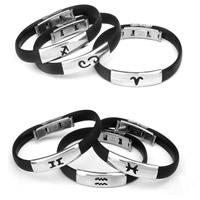 Silicone Armband, 316L roestvrij staal gesp, constellatie sieraden & verschillende stijlen voor de keuze, zwart, 8mm, Per verkocht Ca 7 inch Strand