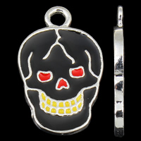 Zinc Alloy Skull Pendants, silver color plated, enamel, nickel, lead & cadmium free, 13x20x2mm, Hole:Approx 2mm, 10PCs/Bag, Sold By Bag