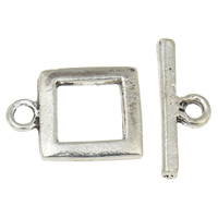 Zinc Alloy Toggle Clasp, Square, antique silver color plated, single-strand, lead & cadmium free, 16x21x2mm, 23x8x2.5mm, Hole:Approx 1.5mm, 2.5mm, 20Sets/Bag, Sold By Bag