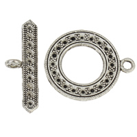 Zinc Alloy Toggle Clasp Findings, Donut, antique silver color plated, single-strand, lead & cadmium free, 33x11x2.5mm, 25x30x2.5mm, Hole:Approx 2.5mm, 3mm, Inner Diameter:Approx 1mm, 20Sets/Bag, Sold By Bag