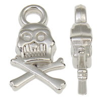 Copper Coated Plastic Pendant, Skull, antique silver color plated, lead & cadmium free, 11x20x4.50mm, Hole:Approx 2mm, 100PCs/Bag, Sold By Bag