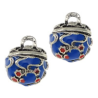Zinc Alloy Bell Charm silver color plated imitation cloisonne   enamel   two tone   blacken nickel lead   cadmium free 13x15x12mm Hole:Approx 3mm 20PCs/Lot