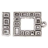 Zinc Alloy Toggle Clasp, Square, antique silver color plated, single-strand, lead & cadmium free, 17x6x2mm, 22x17x2mm, Hole:Approx 2mm, 20Sets/Bag, Sold By Bag