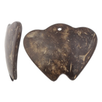 Coconut Pendants, Coco, Heart, natural, original color, 59x46x5mm, Hole:Approx 5mm, 50PCs/Bag, Sold By Bag