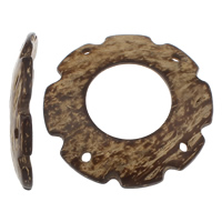 Coconut Connector, Coco, Donut, natural, 2/2 loop, original color, 63x9mm, Hole:Approx 4mm, 50PCs/Bag, Sold By Bag