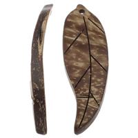 Кокос подвески, скорлупа кокосового ореха, Листок, натуральный, оригинальный цвет, 17x50x6mm, отверстие:Приблизительно 1mm, 100ПК/сумка, продается сумка