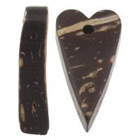 Кокос подвески, скорлупа кокосового ореха, Сердце, натуральный, оригинальный цвет, 11x20x5mm, отверстие:Приблизительно 1mm, 1000ПК/сумка, продается сумка