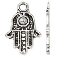Zinklegering Hamsa Hangers, Zinc Alloy, antiek zilver plated, Islam sieraden, lood en cadmium vrij, 12.50x20x2mm, Gat:Ca 2mm, Verkocht door PC