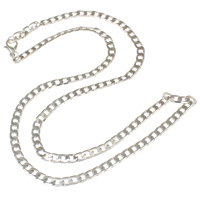 Iron Necklace Chain, platinum color plated, curb chain, nickel, lead & cadmium free, 4x6x1mm, Sold Per Approx 19.5 Inch Strand