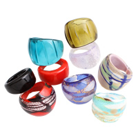 Lampwork Finger Ring handmade mixed 23x25x12.5mm-29x28x22mm 127x95x20mm US Ring Size:5-10 12PCs/Box