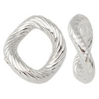 Copper Coated Plastic Linking Ring Twist platinum color plated lead   cadmium free 14x15x5mm Hole:Approx 8x10mm 100PCs/Bag