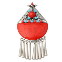 Resin Pendant, Zinc Alloy, with Resin, antique silver color plated, red, nickel, lead & cadmium free, 60x129x12mm, Hole:Approx 4.5mm, Sold By PC