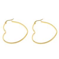 Roestvrij staal oorringen, Hart, gold plated, 41x43x3mm, Verkocht door pair