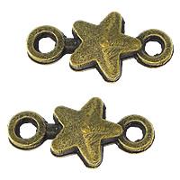 Звездчатый соединитель цинкового сплава, цинковый сплав, Звезда, Покрытие под бронзу старую, 1/1 петля, не содержит никель, свинец, 15x8x2.50mm, отверстие:Приблизительно 2mm, 500ПК/Лот, продается Лот