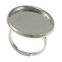 Brass Bezel Ring Base, Flat Round, platinum color plated, adjustable, nickel, lead & cadmium free, 22mm, Inner Diameter:Approx 20mm, US Ring Size:7, 100PCs/Lot, Sold By Lot