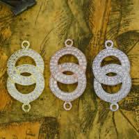 Цирконий Micro Pave стерлингового серебра Разъем, Серебро 925 пробы, Кольцевая форма, Другое покрытие, инкрустированное микро кубического циркония & 1/1 петля, разноцветный, 13x25mm, отверстие:Приблизительно 1-2mm, 5ПК/Лот, продается Лот