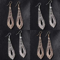 Zinc Alloy Earrings, iron earring hook, Teardrop, plated, with rhinestone, more colors for choice, nickel, lead & cadmium free, 20x86mm, Sold By Pair