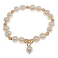Freshwater Cultured Pearl Bracelet, Freshwater Pearl, with Brass & Zinc Alloy, natural, 9-10mm, Sold Per Approx 6.5 Inch Strand